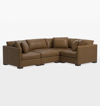 Rejuvenation Wrenton Classic 4-Piece Leather Sectional Sofa