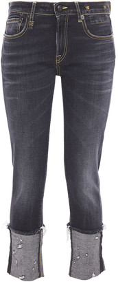 R 13 Distressed Mid-rise Skinny Jeans
