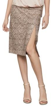 BCBGMAXAZRIA Snake-Embossed Faux-Leather Midi Skirt