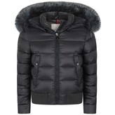 Moncler MonclerGirls Charcoal Down Padded New Alberta Coat