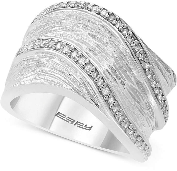 Effy Diamond Textured Statement Ring (1/4 ct. t.w.) in Sterling Silver