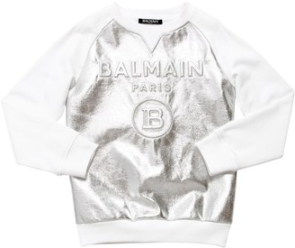 Balmain Embossed Logo Metallic Cotton Sweatshirt