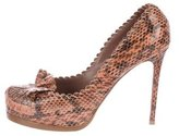 Tabitha Simmons Snakeskin Loafer Pumps