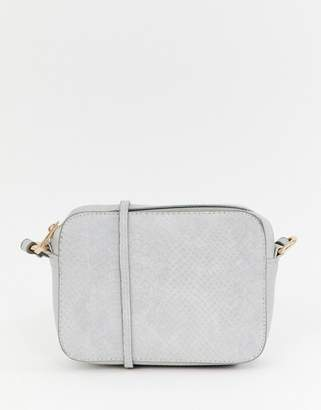 Asos Design DESIGN snake effect cross body camera bag-Gray