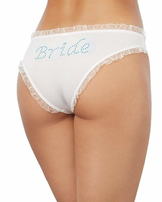 Dreamgirl Women's Microfiber Low-Rise Panty with Rhinestone Bride Detail and Organza Ruffle Trim White