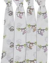 Bacati Set of 4 Happy Monkeys Muslin Swaddling Blankets