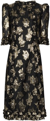 The Vampire's Wife Cate floral-jacquard midi dress