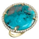 Irene Neuwirth Large Round Turquoise Ring with Pave Diamonds - Yellow Gold