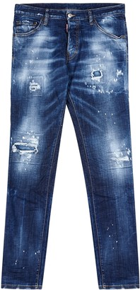 DSQUARED2 Cool Guy Blue Distressed Slim-leg Jeans