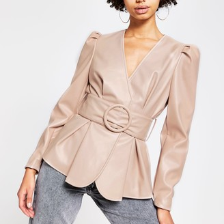River Island Womens Pink faux leather long sleeve belted top