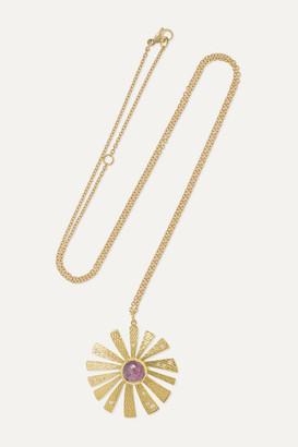 Brooke Gregson Sunflower 18-karat Gold, Sapphire And Diamond Necklace