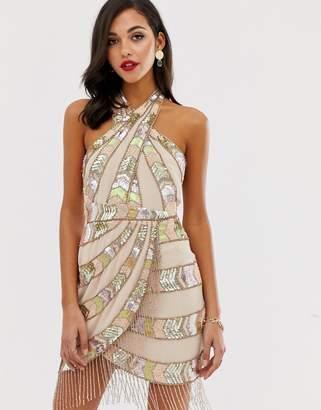 Asos Design DESIGN mini dress with wrap neck and geo-tribal embellishment fringe-Multi