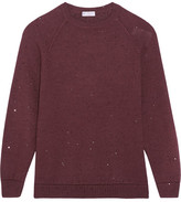 Brunello Cucinelli Sequin-embellished Cashmere And Silk-blend Sweater - Merlot