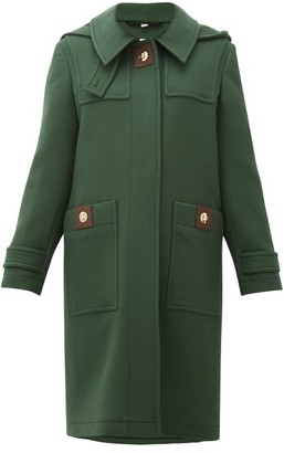 Burberry Bulford Hooded Wool-twill Duffle Coat - Dark Green