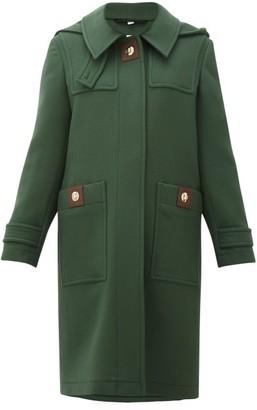 Burberry Bulford Hooded Wool-twill Duffle Coat - Womens - Dark Green