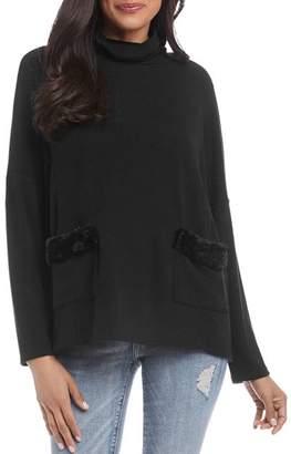 Karen Kane Faux-Fur-Trim Turtleneck Sweater