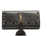 Saint Laurent Kate whipstitch-edge leather clutch