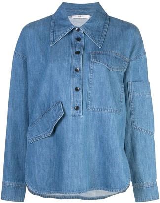 Tibi stone enzyme denim shirt