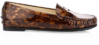 Tod's City Gommini Tortoise Patent Leather Loafers