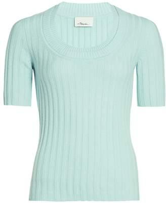 3.1 Phillip Lim Short-Sleeve Cashmere-Blend Rib-Knit Top
