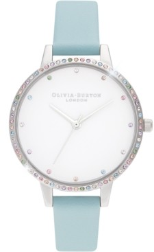 Olivia Burton Women's Rainbow Turquoise Leather Strap Watch 34mm