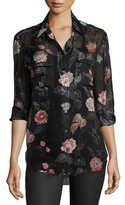 Equipment Signature Floral-Print Silk Shirt, True Black Multi
