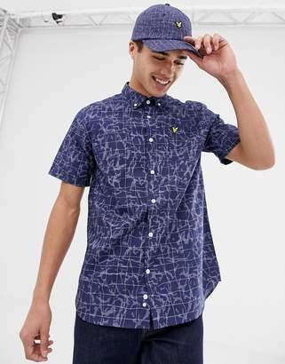 Lyle & Scott short sleeve pool print shirt in navy
