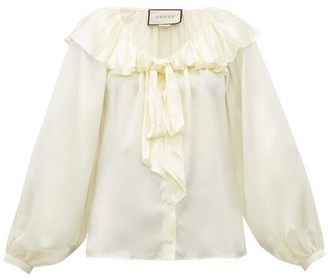 Gucci Ruffled Silk-blend Satin Blouse - Womens - Ivory