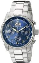 Akribos XXIV Men's AK862SSBU Round Blue Dial Chronograph Quartz Stainless Steel Bracelet Watch