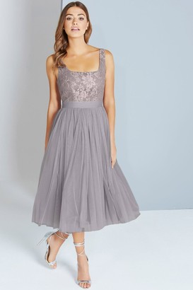 Little Mistress Grey Lace and Mesh Midi Dress