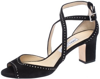 Jimmy Choo Black Suede Carrie 65 Ankle Strap Open Toe Sandals Size 40