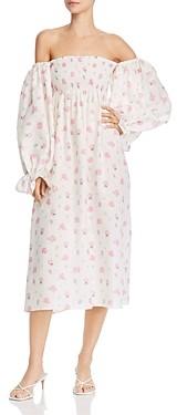 Sleeper Floral Print Off-The-Shoulder Dress