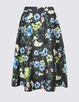 Marks and Spencer Jacquard Floral Print A-Line Midi Skirt