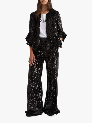 French Connection Alodia Sequin Ruffle Jacket, Black