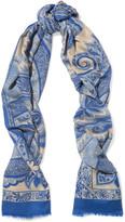 Etro Paisley-print Cashmere Scarf - Blue