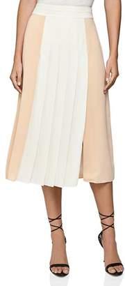 Reiss Abigail Color-Blocked Pleated Midi Skirt