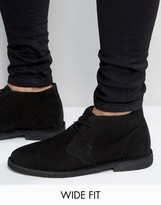 Asos Wide Fit Desert Boots In Black Suede