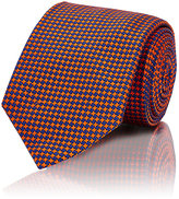 Barneys New York MEN'S MICRO-HOUNDSTOOTH NECKTIE-ORANGE