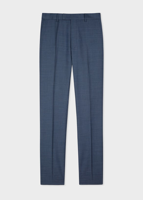 Men's Tapered-Fit Blue Micro-Check Wool Trousers