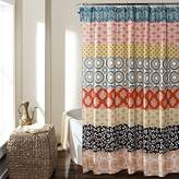 "Lush Decor 16T000209 Bohemian Stripe Shower Curtain, 72"" x 72"", Turquoise/Orange"