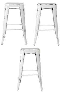 "17 Stories Wixom Counter & Bar Stool Seat Height: Bar Stool (30"" Seat Height), Color: White, Pack Size: 3"