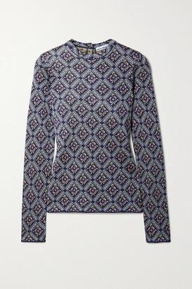 Paco Rabanne Metallic Jacquard-knit Sweater - Navy