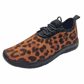 Polp Botas Women's Outdoor Casual Leopard Print Fashion Running Shoes with Soft Laces Black Size: 7 UK