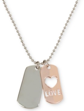 "BCBGeneration Two-Tone Love Dog Tag Pendant Necklace, 29"" + 3"" extender"