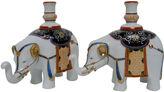 One Kings Lane Vintage Porcelain Elephant Candleholders, Pair