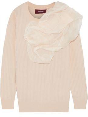 Sies Marjan Awa Silk Organza-appliqued Wool-blend Sweater