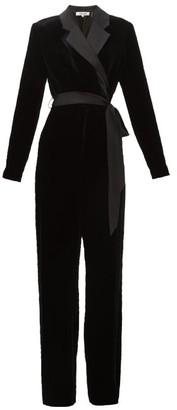 Diane von Furstenberg Monica Notched-lapel Velvet Wrap Wide-leg Jumpsuit - Womens - Black