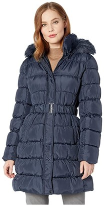 Via Spiga 3/4 Belted Ruched Puffer (Navy) Women's Clothing
