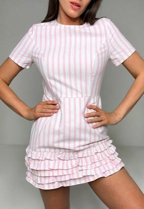 Missguided Pink Stripe Frill Hem Romper