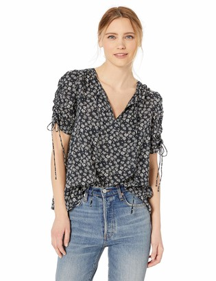 Lucky Brand Women's Printed TIE Sleeve TOP